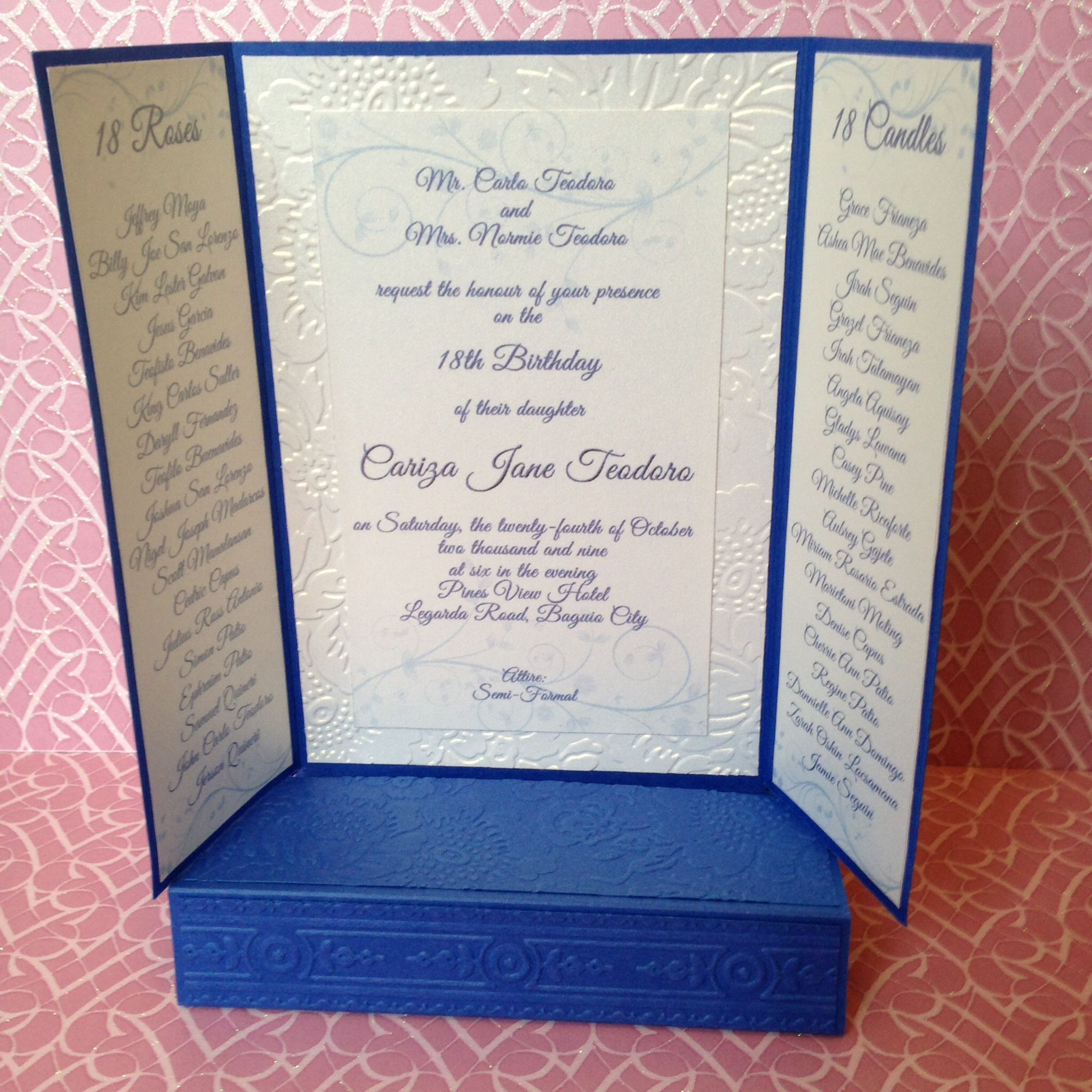 invitation card example for debut