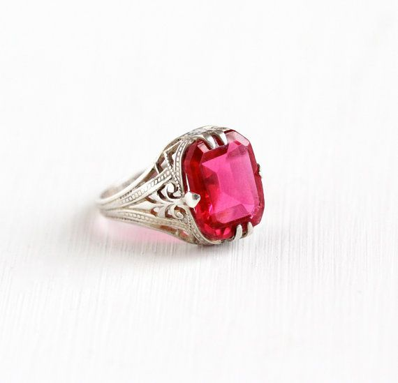 Antique Art Deco Sterling Silver Simulated Ruby Ring