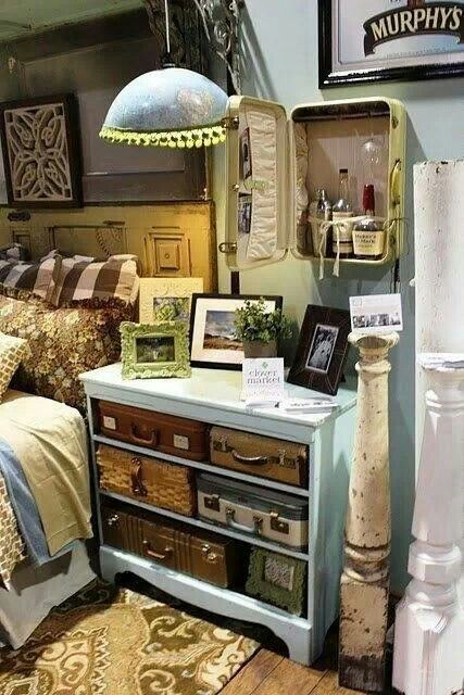 love these old suitcases as alternative drawers perfect for a beach rh pinterest co uk