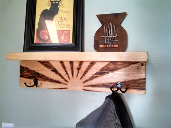 coat rack shelf rising sun with natural by grassrootswoodworks rh pinterest com