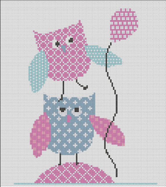 Counted Cross Stitch Pattern Nursery Art New Baby Girl