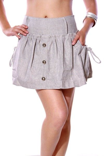 silver button tweed fall skirt