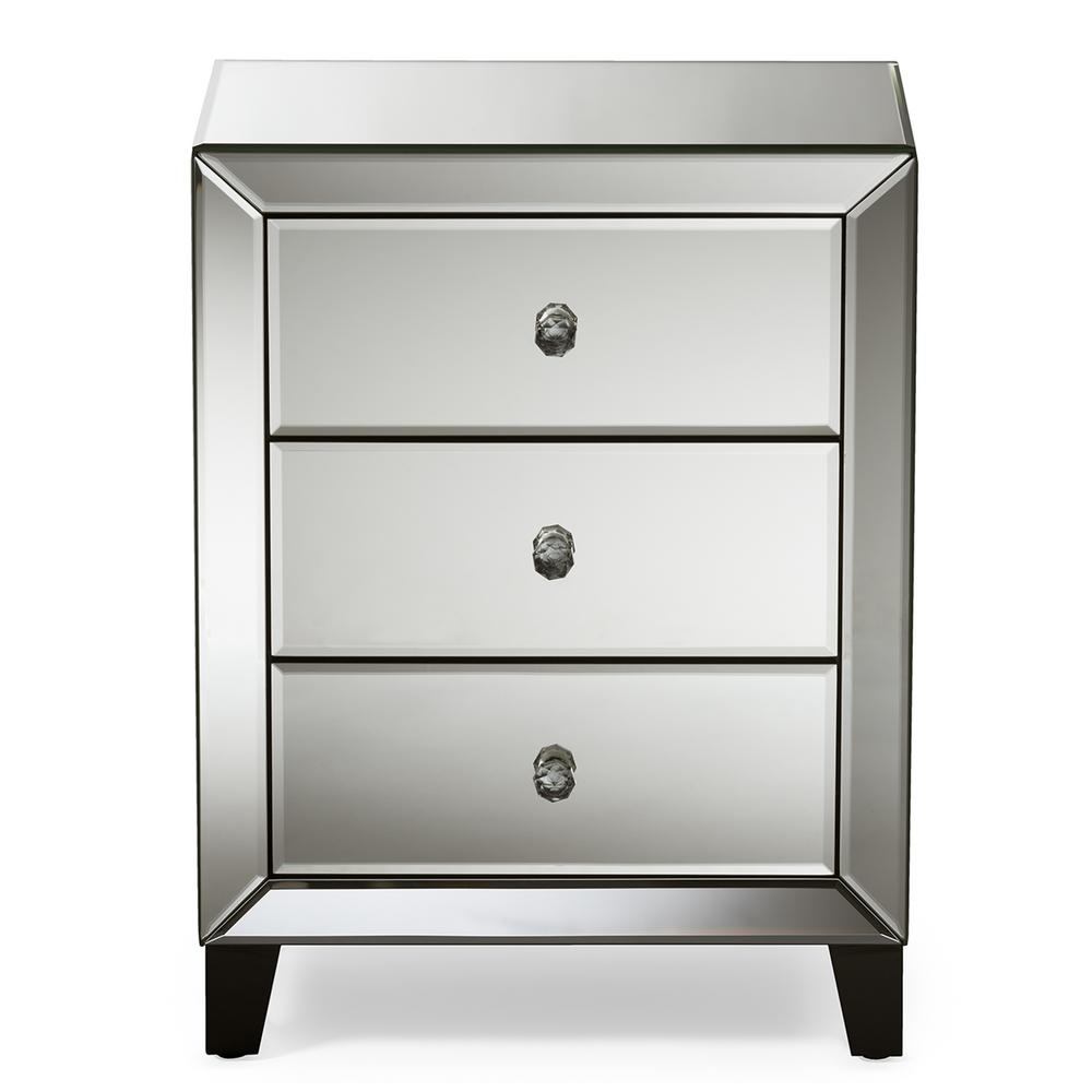 Baxton Studio Chevron 3 Drawer Silver Mirrored Nightstand 28862 6733 Hd In 2020 Mirrored Bedroom Furniture Mirrored Nightstand Drawer Nightstand