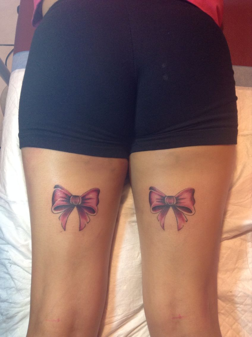 bows on legs by melk tattoos girly