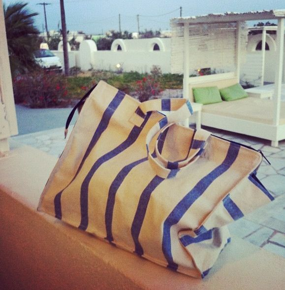 Santorini shopping striped beach bag. Greece blue and white