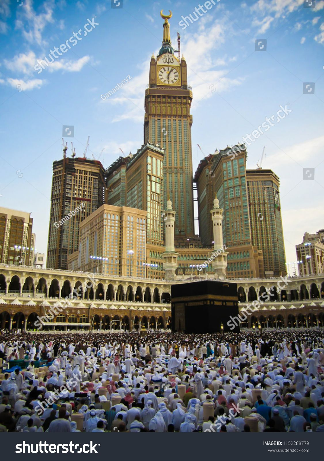 MECCA, SAUDI ARABIA - APRIL 22 2018: View on Holy Kaaba from