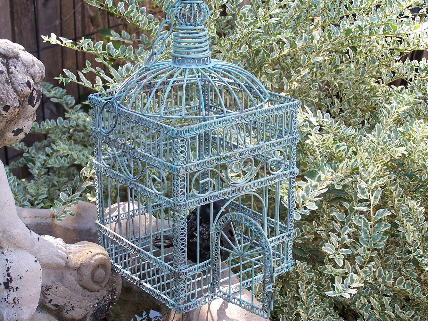 shabby chic bird cage ornate wire sage green and aqua vintage rh pinterest com