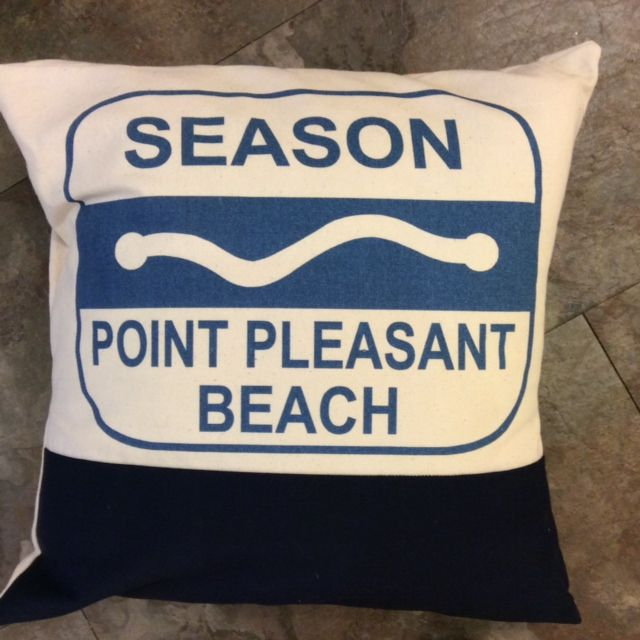 Beach Badge Pillow Jersey S Point Pleasant Bay Head Image Is Loading Sea Girt