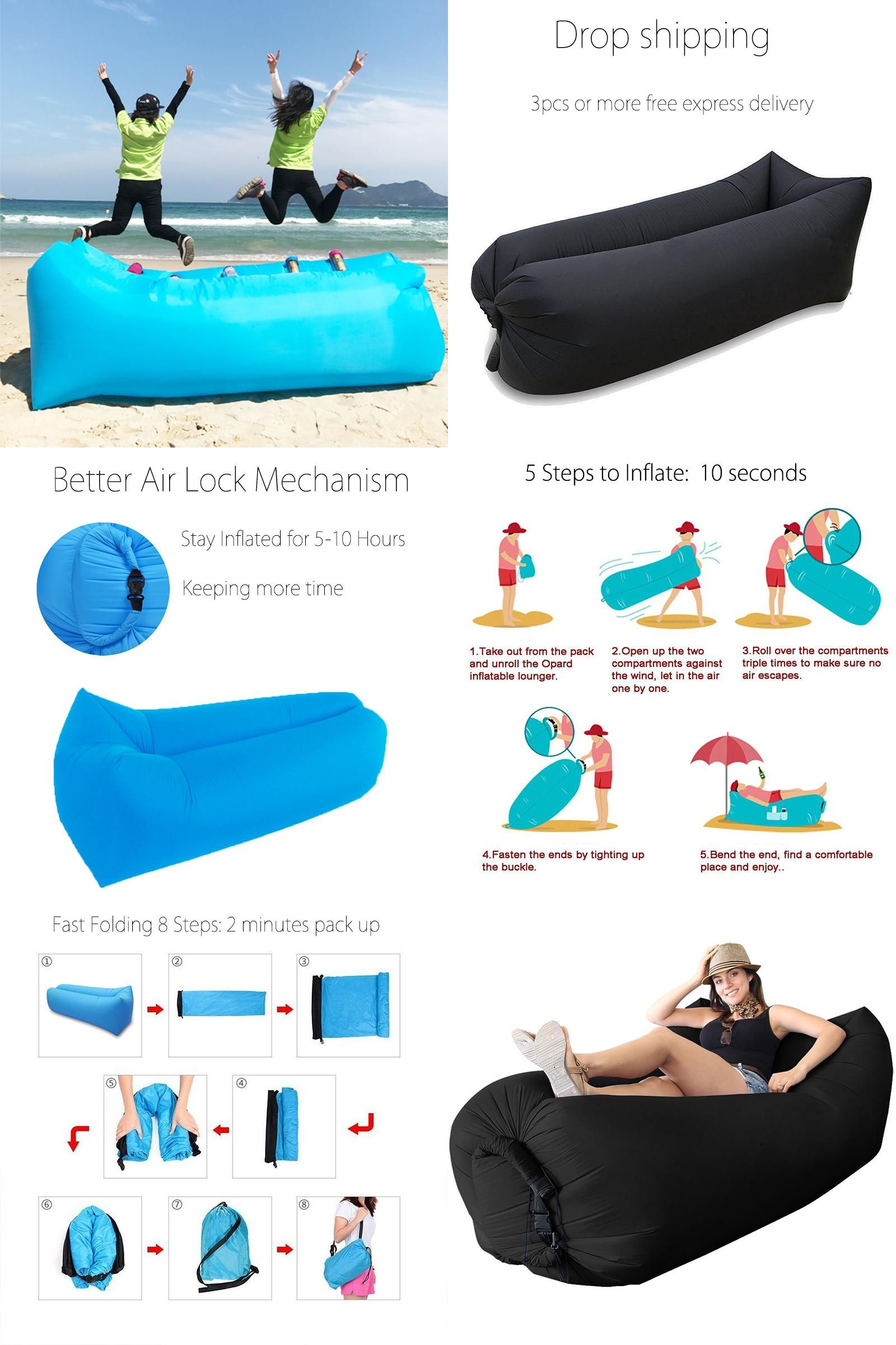 Fast Inflatable Lounger Air Sleeping Bag Camping Bed Hangout Lazy Beach Sofa