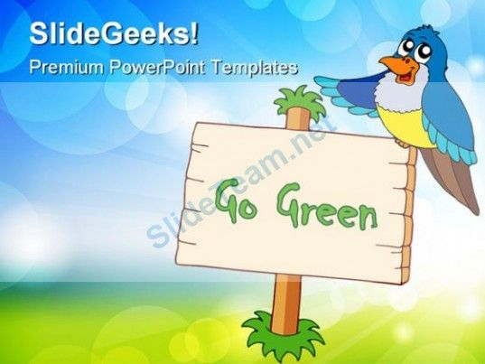 go green with blue bird animals powerpoint templates and, Modern powerpoint