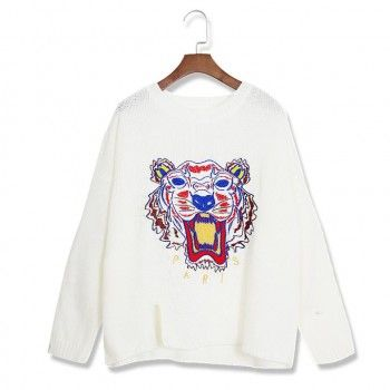 White pullovers annimal embroidery o-neck preppy style Floral Sweaters