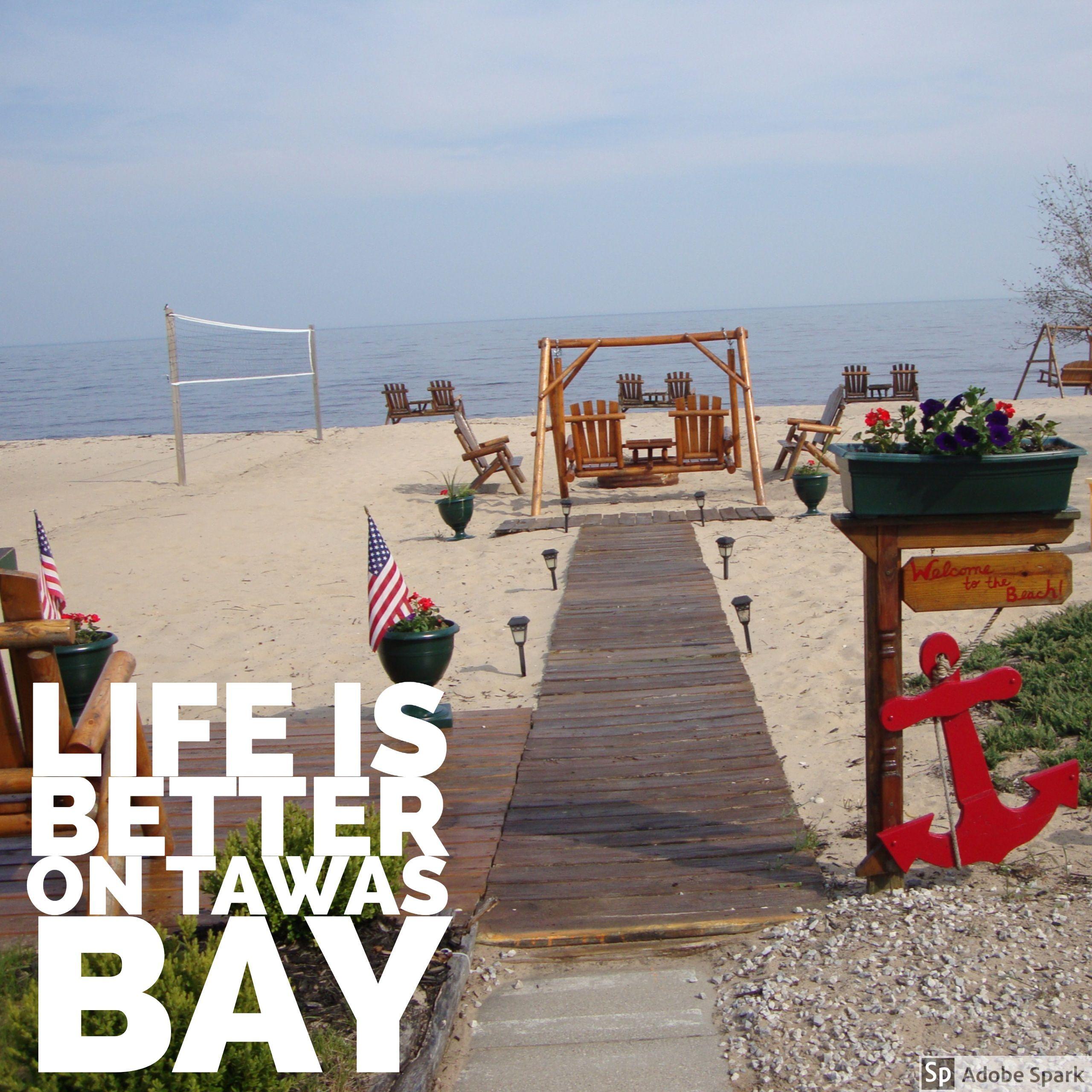 young s getaway beachfront resort located in tawas city sa tawas rh pinterest com