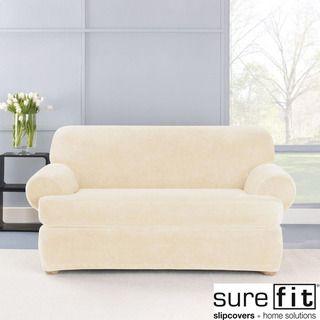 sure fit stretch plush cream t cushion loveseat slipcover rh pinterest com
