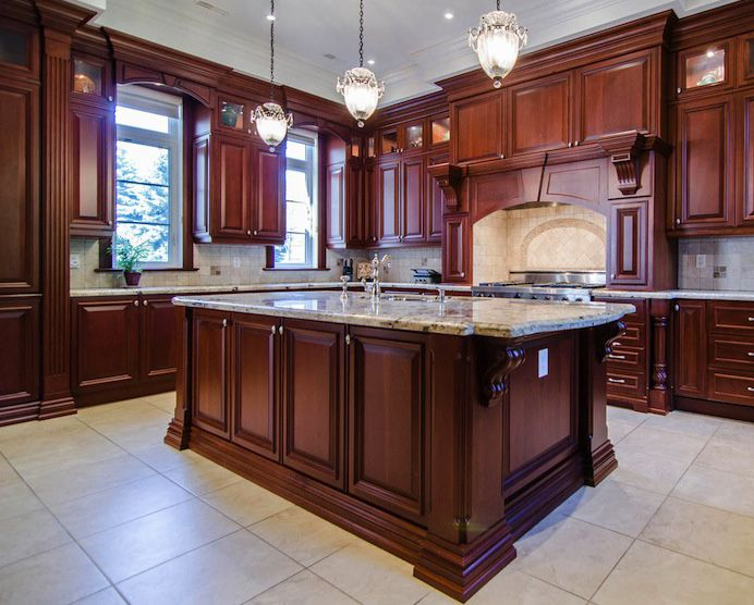 kitchen - kitchen design with carved wood corbels