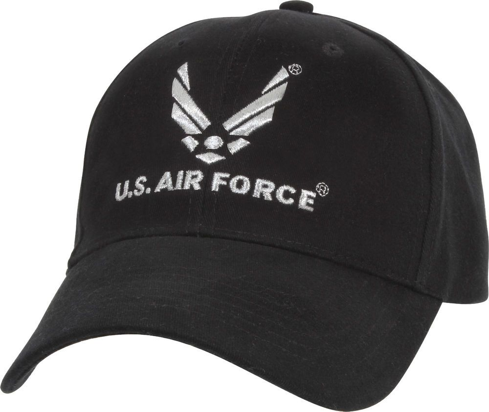49cea1c326d Black Official US Air Force USAF Logo Deluxe Low Profile Adjustable Cap   Rothco