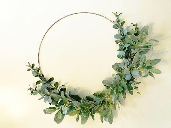 Photo of Modern Lambs Ear Hoop Wreath, wreath all season, greenery wreath, everyday wreath, spring wreath kitchen