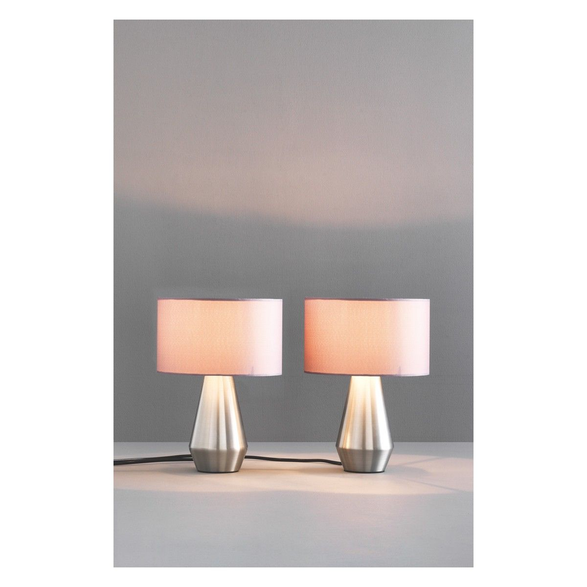 maya pair of metal touch lamps with grey fabric shades touch