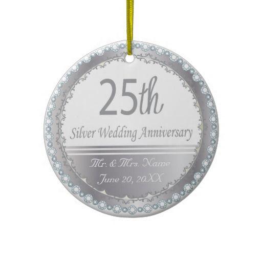 Silver Wedding Anniversary Gowns: 25th Silver Wedding Anniversary Design Ceramic Ornament