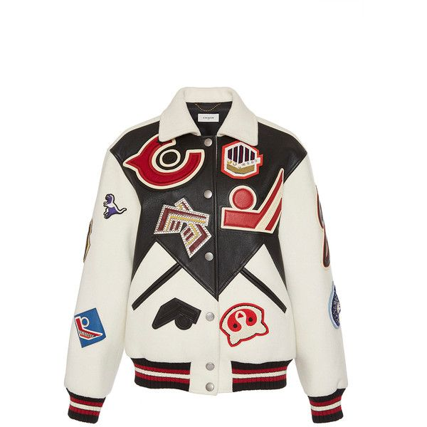 Coach 1941 Embroidered Leather Varsity Jacket ($1,595) ❤ liked on Polyvore featuring outerwear, jackets, varsity jacket, embroidery jackets, white leather jacket, patchwork leather jacket and teddy jacket
