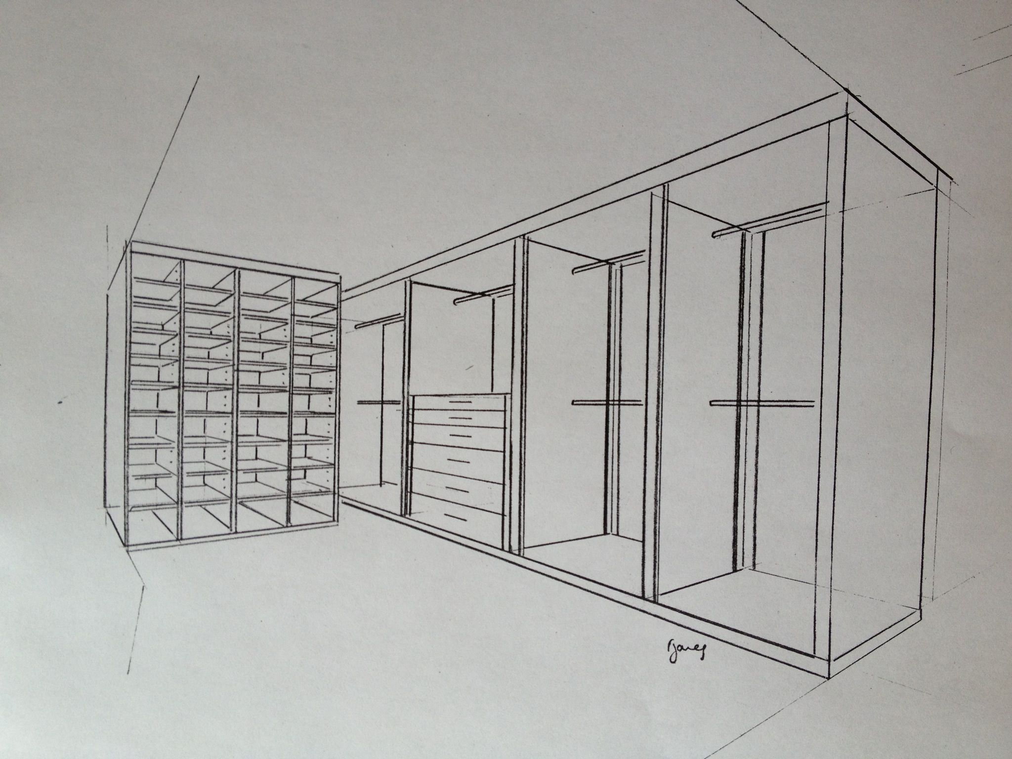 Proposal sketch design for walk in wardrobe