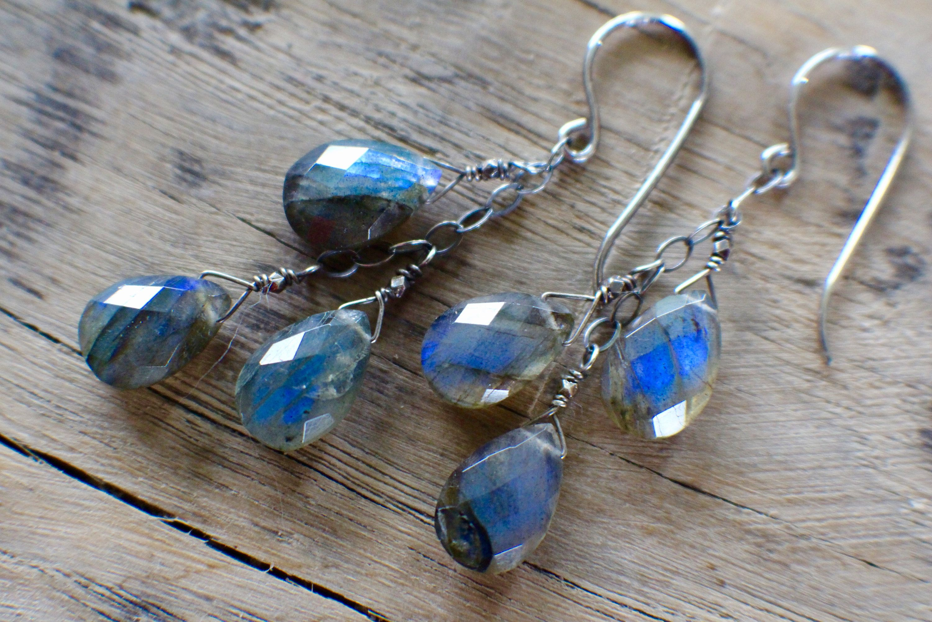 """NATURAL FLASHY LABRADORITE 925 Sterling Silver Dangle Earring Jewelry 1 1//4/"""""""