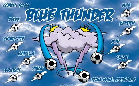Thunder-Blue-47437  digitally printed vinyl soccer sports team banner. Made in the USA and shipped fast by BannersUSA. www.bannersusa.com