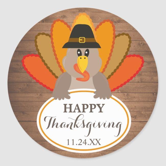 Happy Thanksgiving Funny Turkey Rustic Woodsticker Classic Round Sticker Zazzle Com In 2020 Happy Thanksgiving Funny Funny Thanksgiving Funny Turkey