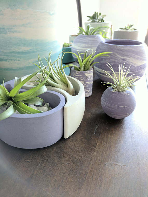 Concrete Planter Globe Air Plant Pot Air Plant Gift For Etsy Concrete Planters Air Plants Decor Plants