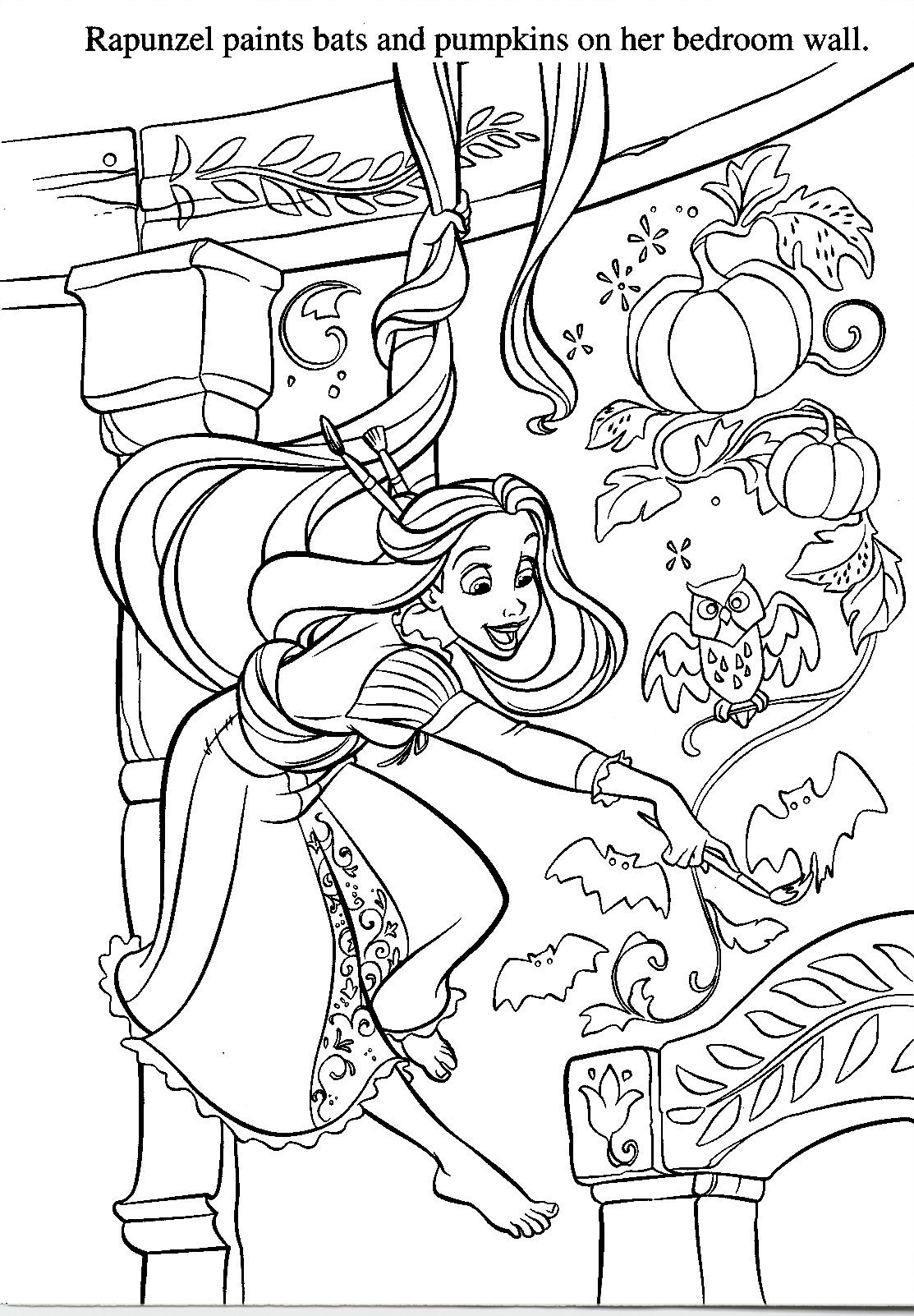 Halloween coloring with Rapunzel. Rapunzel coloring pages
