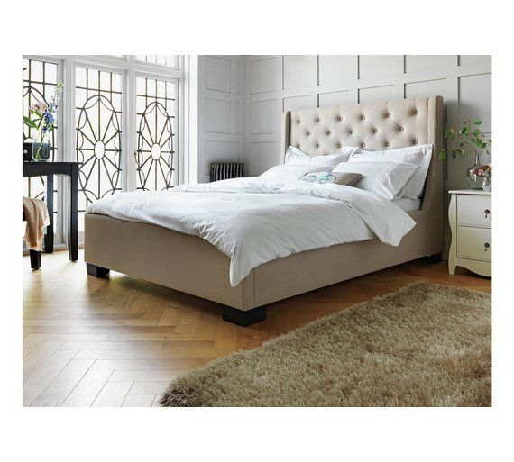 Windsor Queen Size Buttoned Fabric Bed Frame Grey Fabric Bed