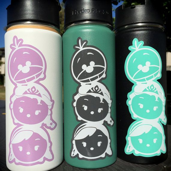 Tsum Tsum Frozen Stacked Set with Colored Backdrop Vinyl Decal for Hydro Flask Water Bottle and Car Windows too  This decal is approx.: 2.5 x 6