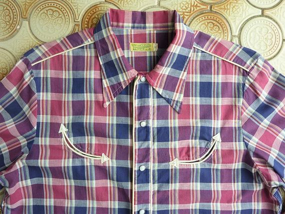 86ca0a87 Made in California Vintage 1940s 50s Men's Western Shirt. plaid ...