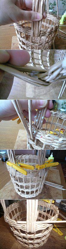 МК по плетению ажурной корзины / Прочие виды рукоделия / Работа с бумагой: