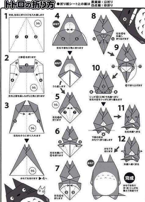 トトロの折り方 トトロ 折り紙 折り紙 折り紙 キャラクター