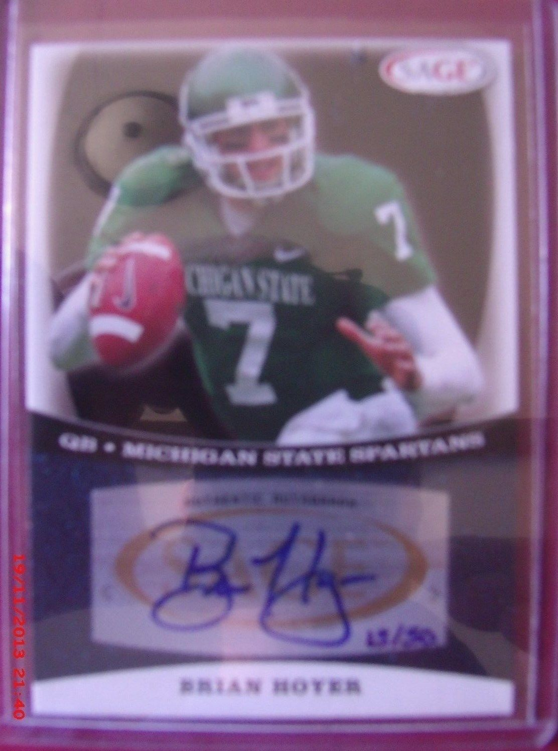 2009 Sage Blue Auto Rookie Brian Hoyer Low 15 50 Brian Hoyer Blue Cleveland Browns