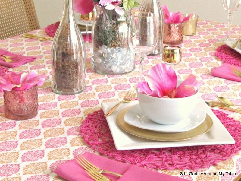 pink and rust table