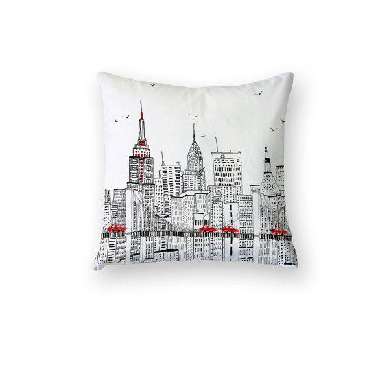 New york skyline nyc pillow