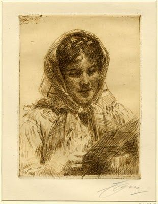 Etching by Anders Zorn (Swedish).