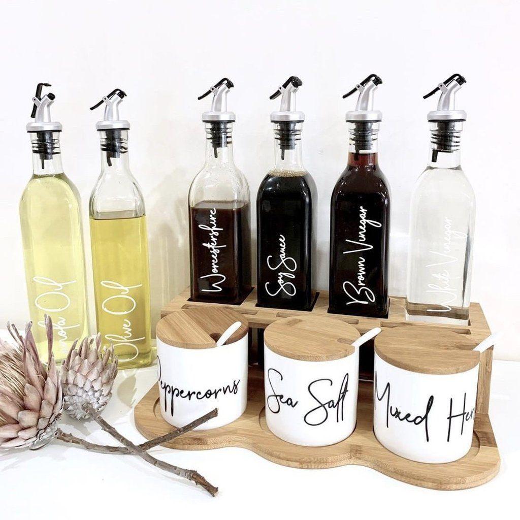 pld bamboo kitchen spice canister oil vinegar sauce storage set in 2020 oil bottle olive on kitchen organization oil and vinegar id=80486