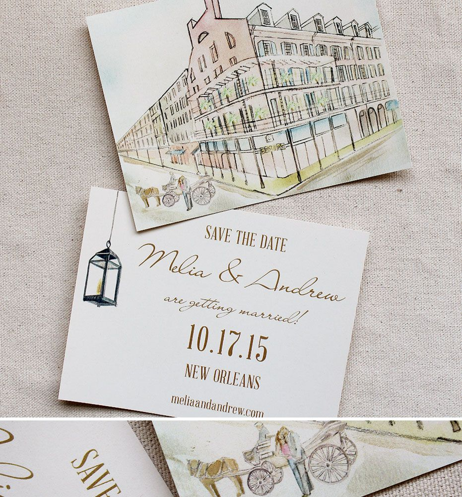 sample wording for save the date wedding cards%0A Doublesided save the date with pastel illustration of wedding venue  Soft  and subtle