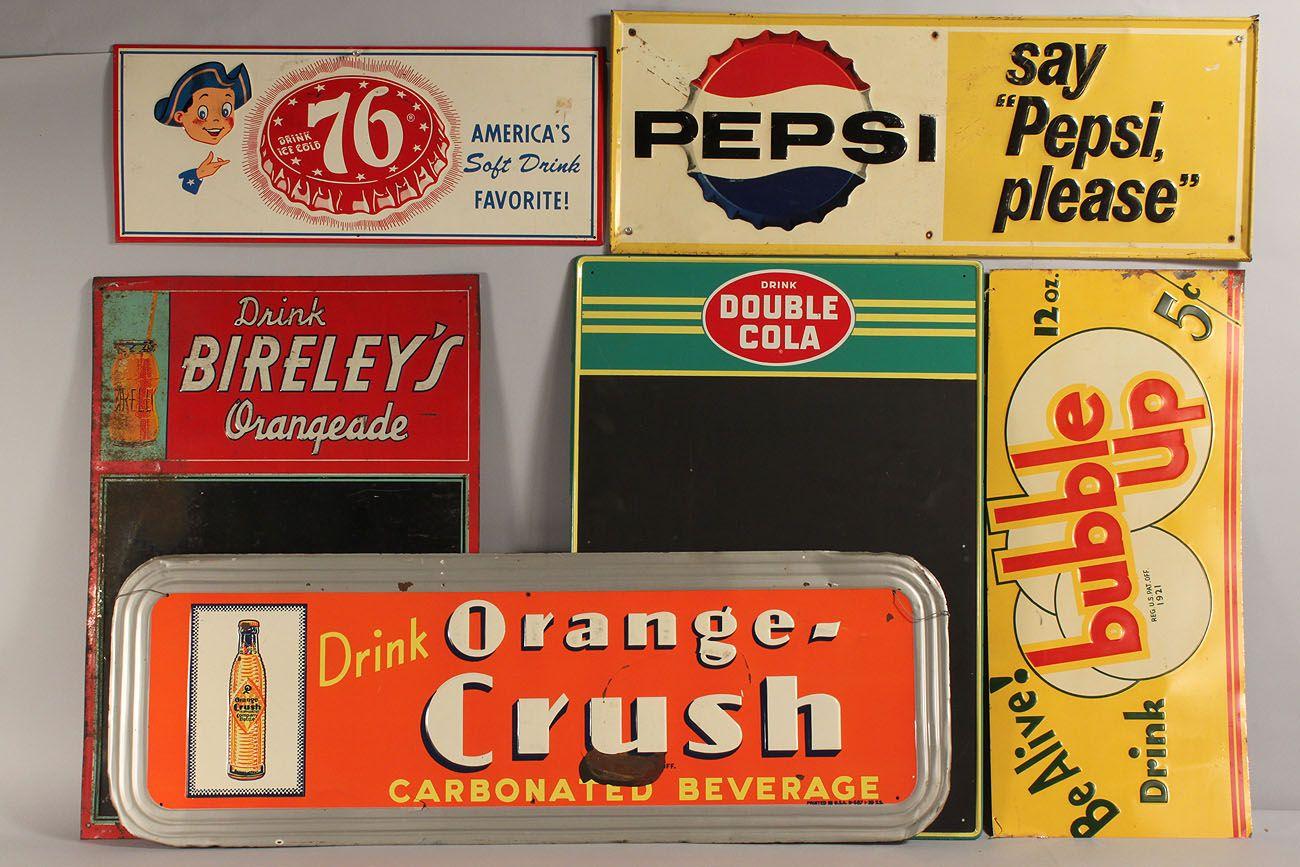Vintage Tin Soda Advertising Signs