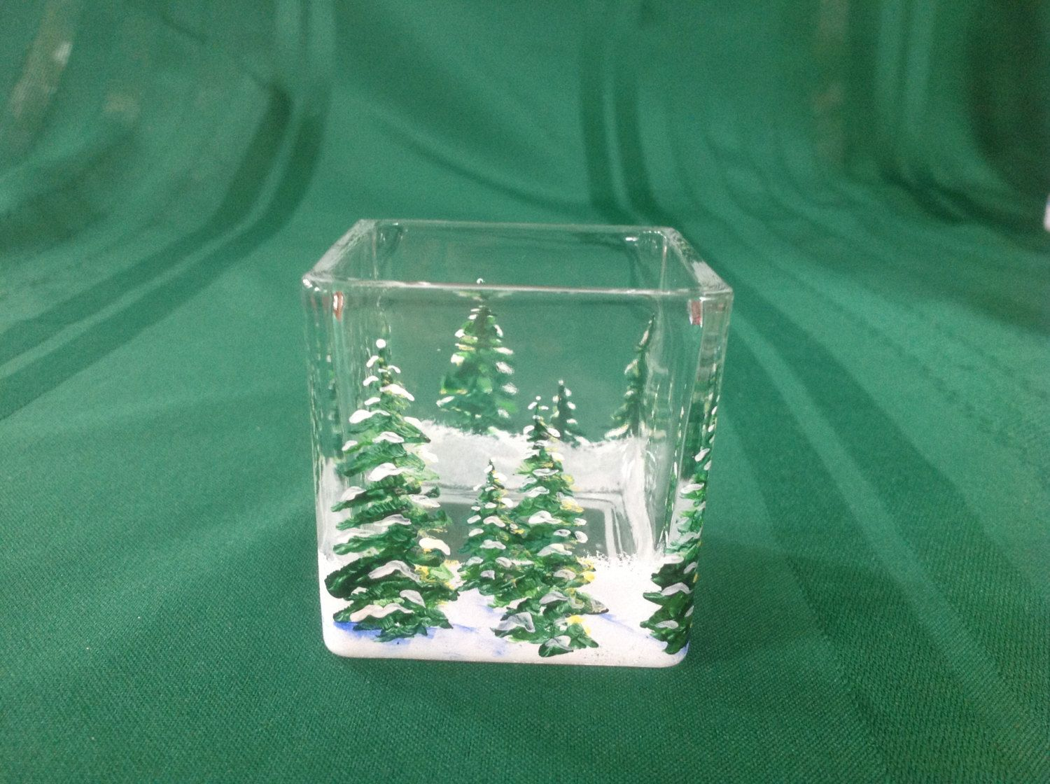 Made by my friend!! Handpainted winter Pines small cube