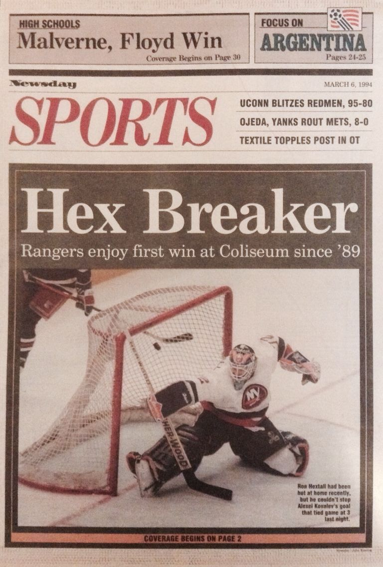 Newsday back cover dated March 6th, 1994  At the time, #NYR