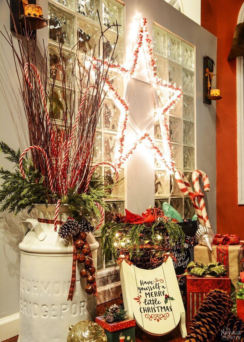 She wraps Christmas lights around wood slats