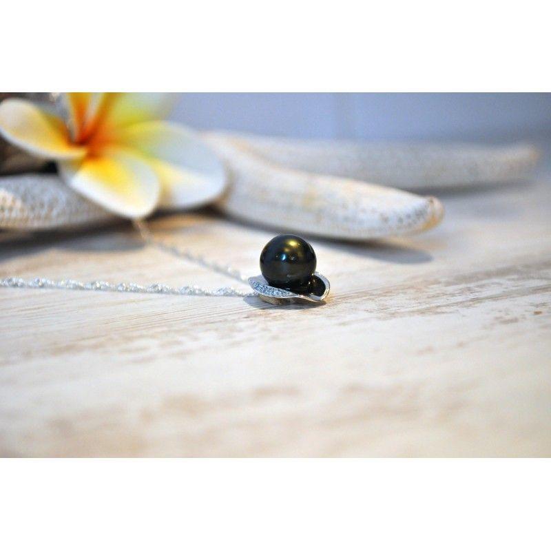 """Pendentif """"Rangiroa"""" Argent .925 & Perle Noire de Tahiti Ronde 10mm - Invidia-Chaussures"""