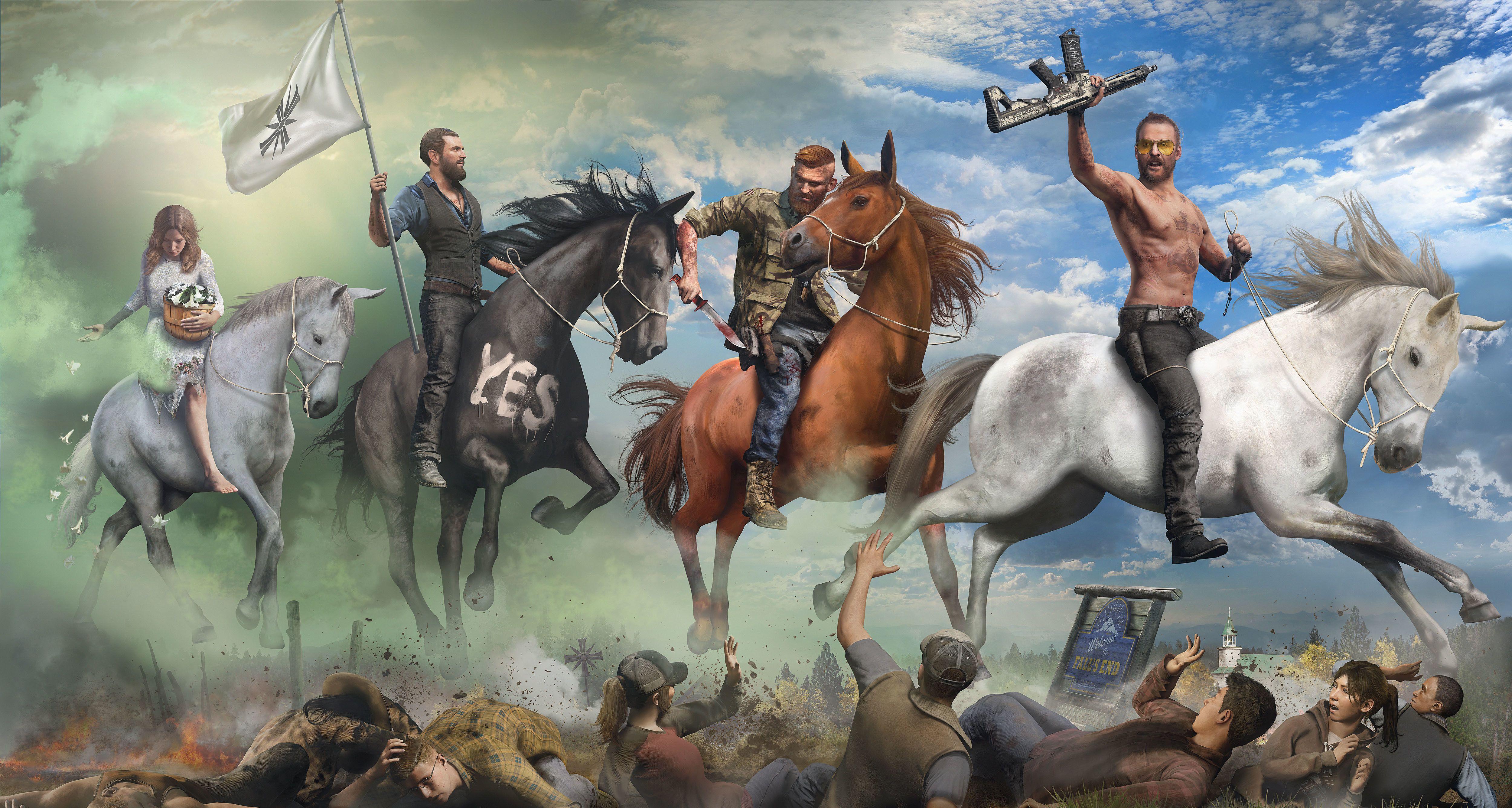 Far Cry 5 Four Horsemen Art Horsemen Of The Apocalypse Far Cry 5 Crying