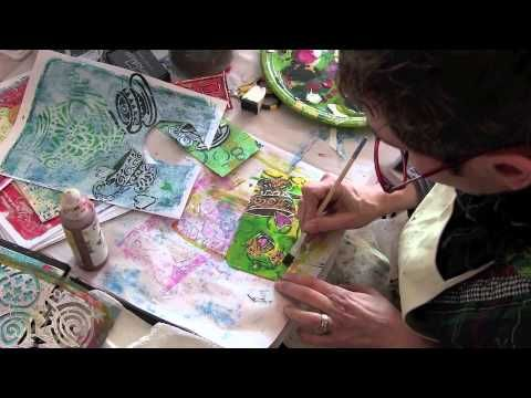 Teapot and Teacup Stencil Tag - Watch Jessica Sporn work with her newest stencil to create a fabulous Art Tag...