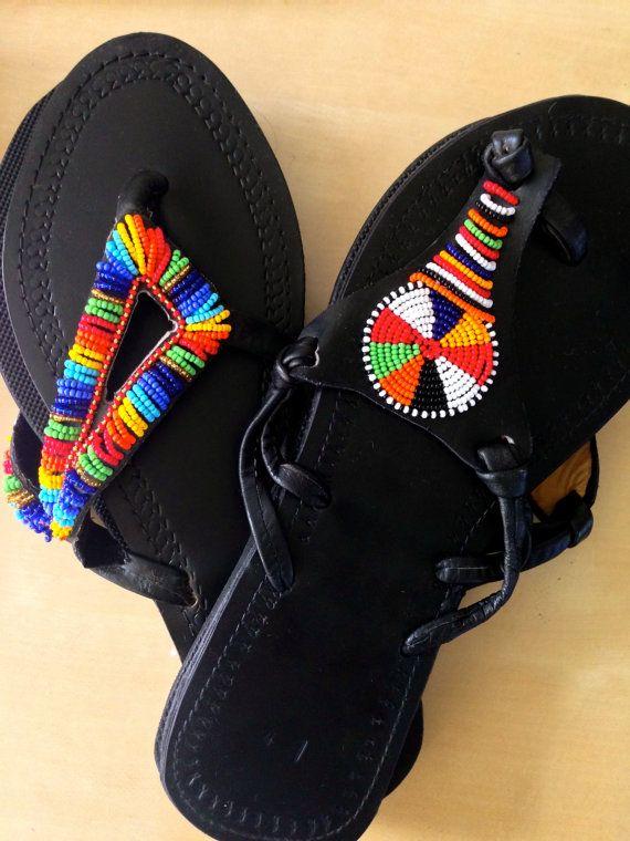 One Of A Kind Handmade Maasai Sandals From Kenya Sales
