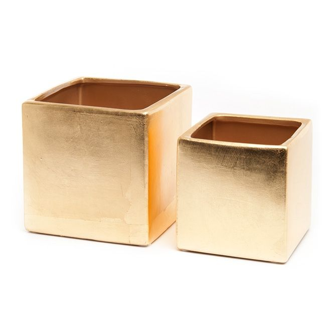 Ceramic Bondi Cube 15x15x15cmH S/2 Metallic Gold