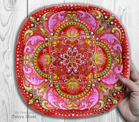 Decorative Plate Handpainted Russian Soul Wall For Home Decor Hangings Decoration Gl